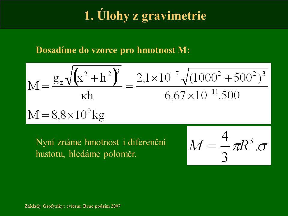 Dosadíme do vzorce pro hmotnost M: