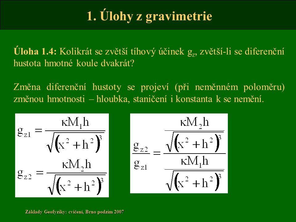Úloha 1.4: Kolikrát se zvětší tíhový účinek gz, zvětší-li se diferenční hustota hmotné koule dvakrát