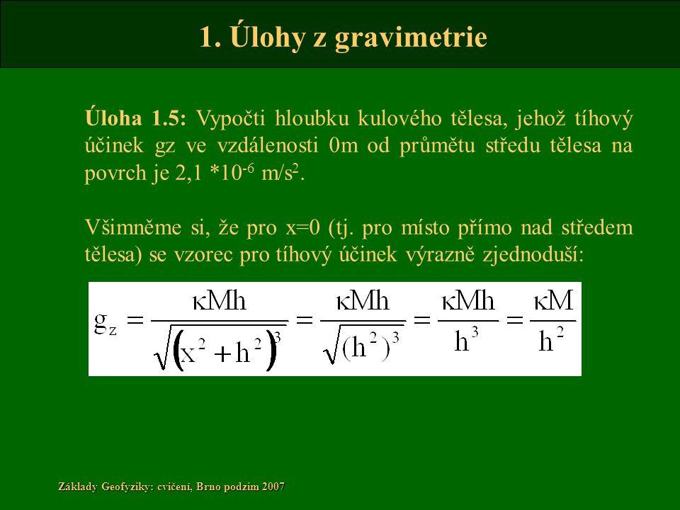Úloha 1.5: Vypočti hloubku kulového tělesa, jehož tíhový účinek gz ve vzdálenosti 0m od průmětu středu tělesa na povrch je 2,1 *10-6 m/s2.