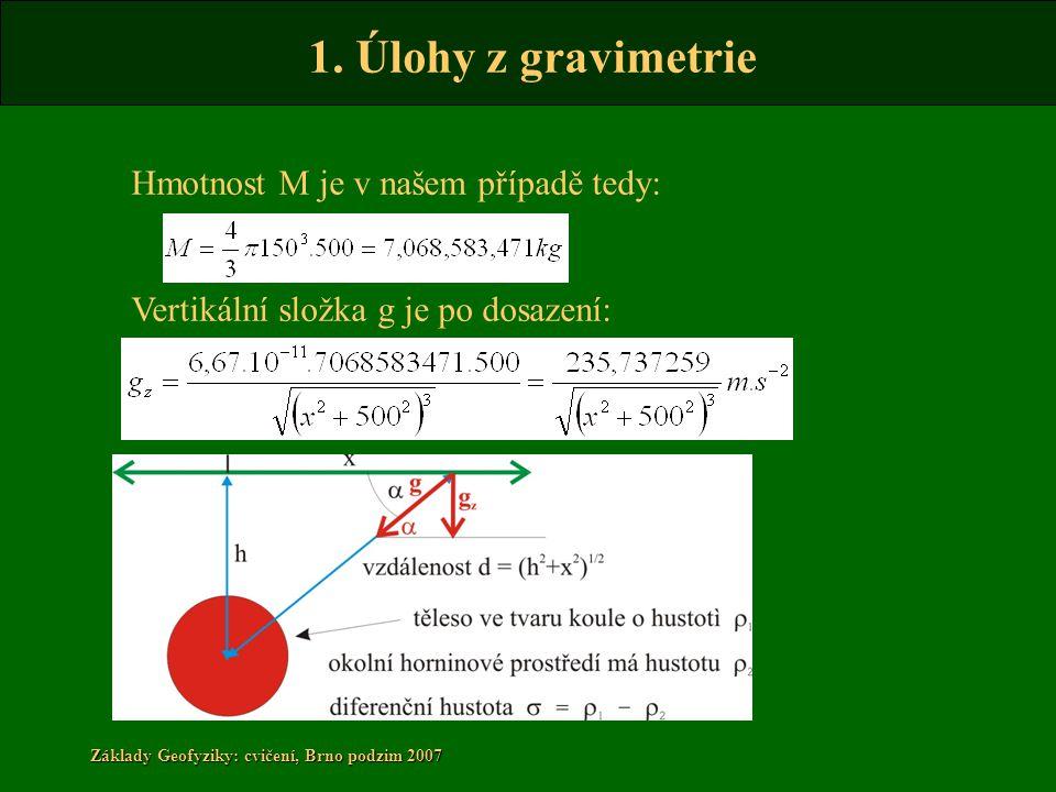 Hmotnost M je v našem případě tedy: