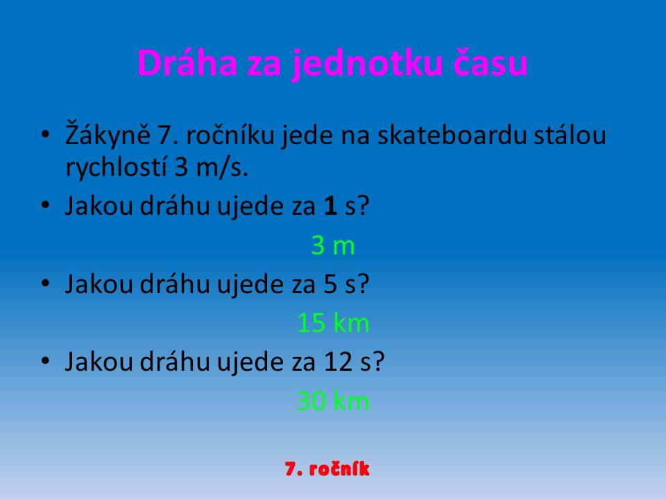 Dráha za jednotku času Žákyně 7. ročníku jede na skateboardu stálou rychlostí 3 m/s. Jakou dráhu ujede za 1 s