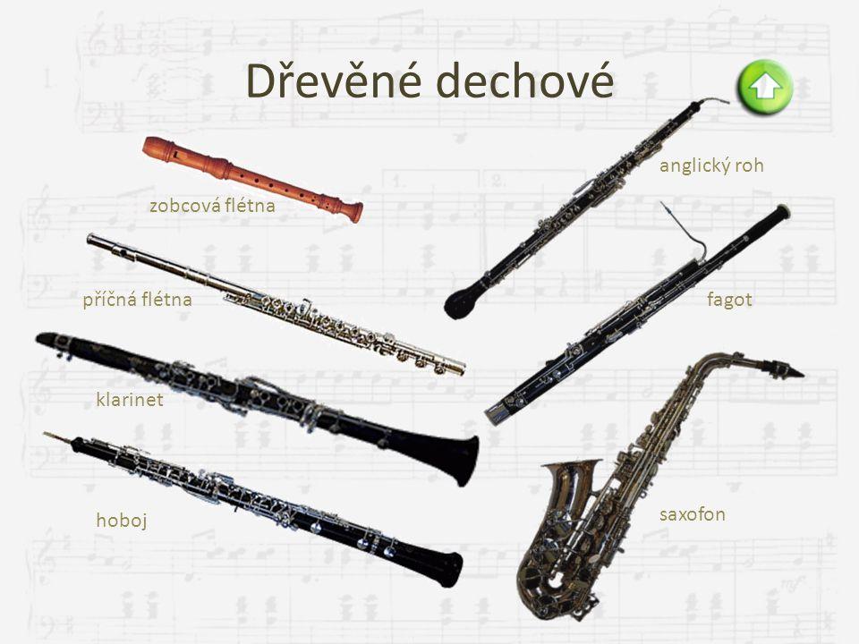 Dřevěné dechové anglický roh zobcová flétna příčná flétna fagot