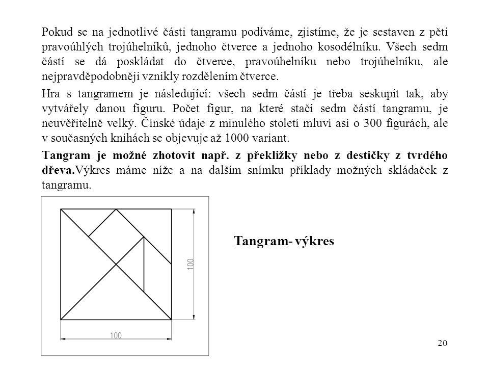 Pokud se na jednotlivé části tangramu podíváme, zjistíme, že je sestaven z pěti pravoúhlých trojúhelníků, jednoho čtverce a jednoho kosodélníku. Všech sedm částí se dá poskládat do čtverce, pravoúhelníku nebo trojúhelníku, ale nejpravděpodobněji vznikly rozdělením čtverce.