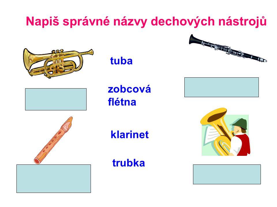 Napiš správné názvy dechových nástrojů