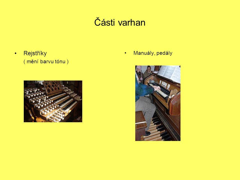 Části varhan Rejstříky ( mění barvu tónu ) Manuály, pedály