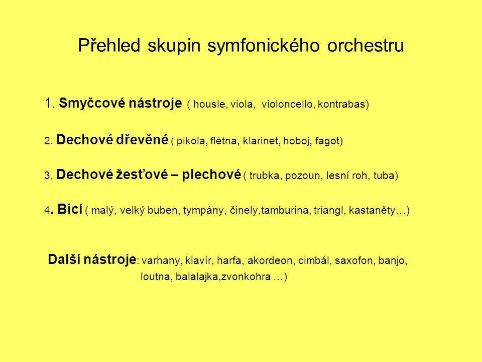 Přehled skupin symfonického orchestru