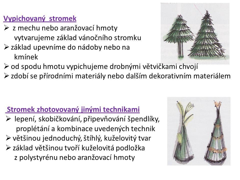 Vypichovaný stromek z mechu nebo aranžovací hmoty vytvarujeme základ vánočního stromku. základ upevníme do nádoby nebo na kmínek.