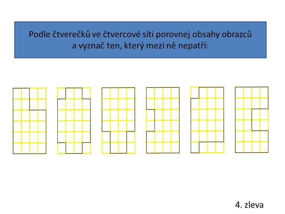 Podle čtverečků ve čtvercové síti porovnej obsahy obrazců