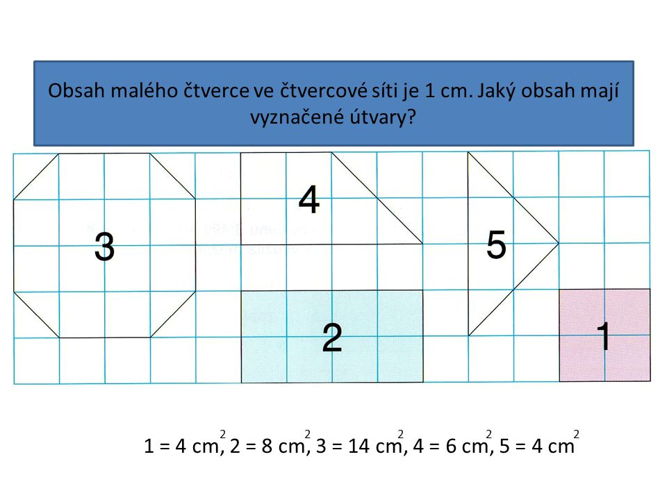 Obsah malého čtverce ve čtvercové síti je 1 cm