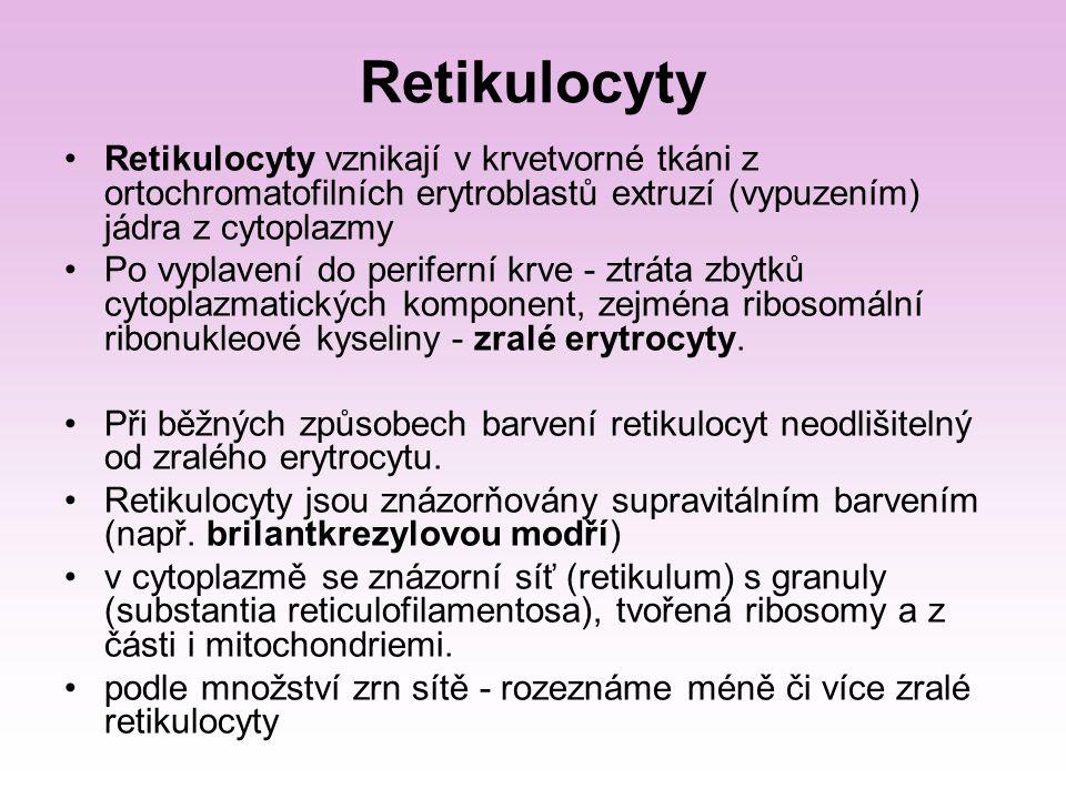 Retikulocyty Retikulocyty vznikají v krvetvorné tkáni z ortochromatofilních erytroblastů extruzí (vypuzením) jádra z cytoplazmy.