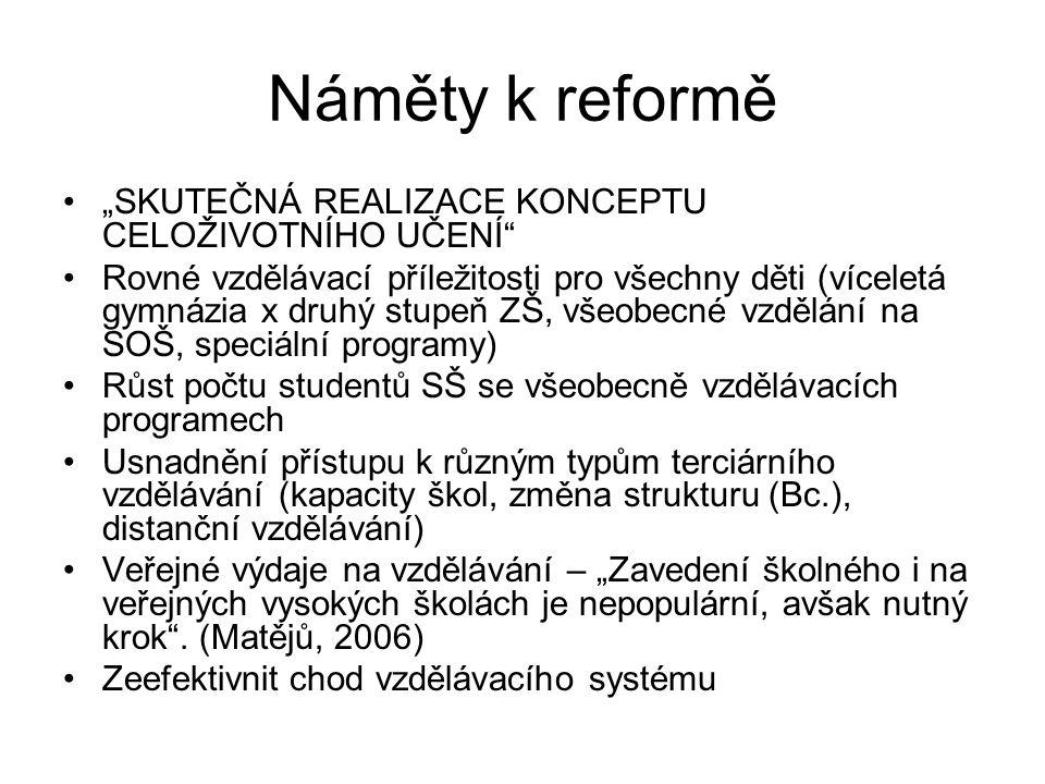 """Náměty k reformě """"SKUTEČNÁ REALIZACE KONCEPTU CELOŽIVOTNÍHO UČENÍ"""