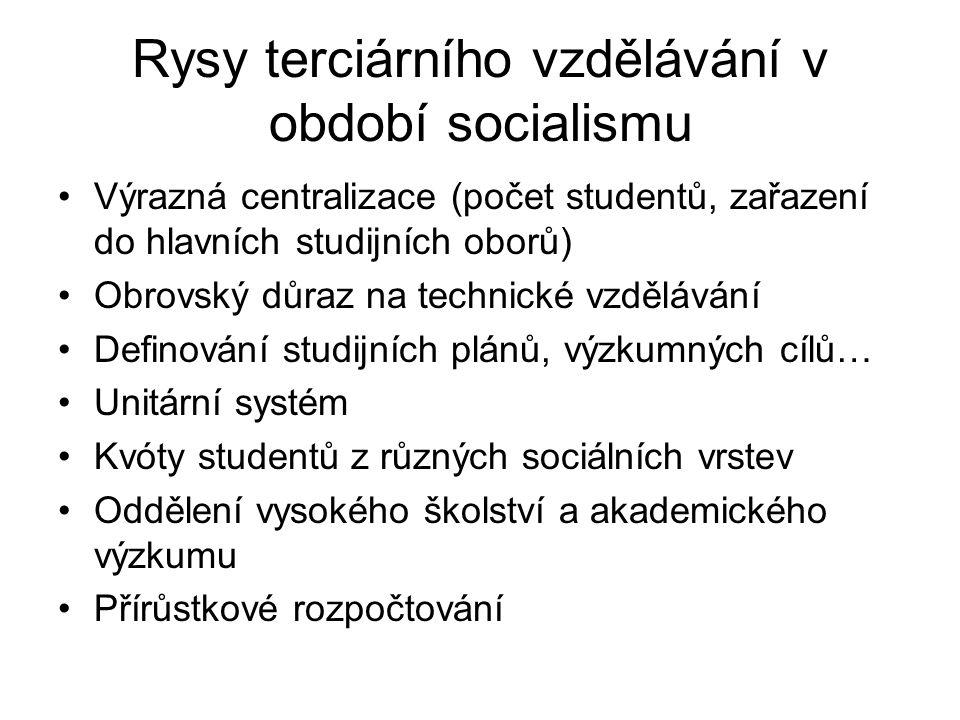 Rysy terciárního vzdělávání v období socialismu