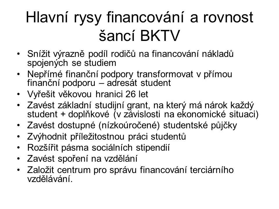 Hlavní rysy financování a rovnost šancí BKTV