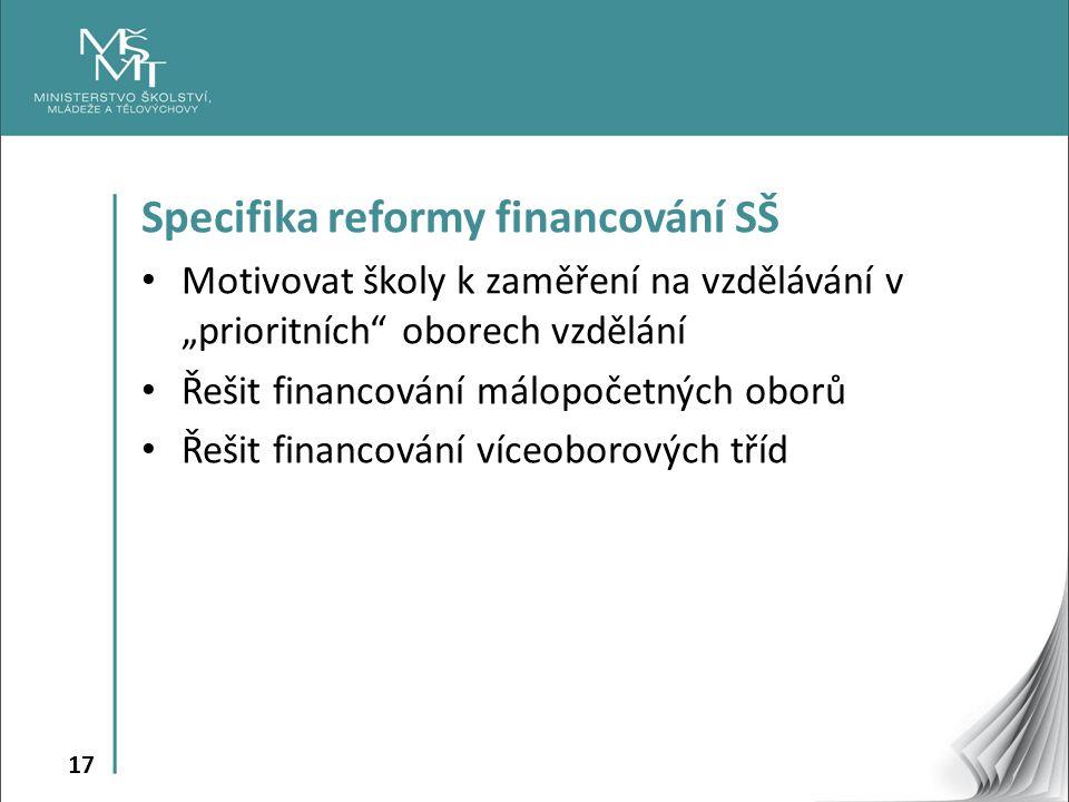 Specifika reformy financování SŠ