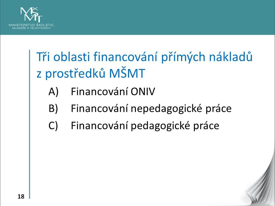 Tři oblasti financování přímých nákladů z prostředků MŠMT