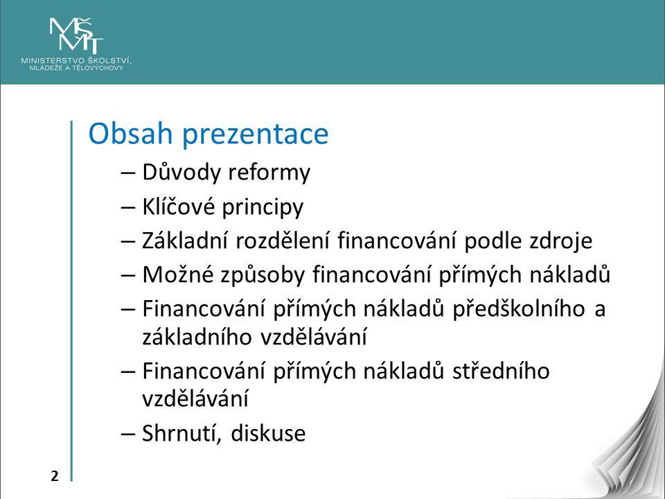 Obsah prezentace Důvody reformy Klíčové principy