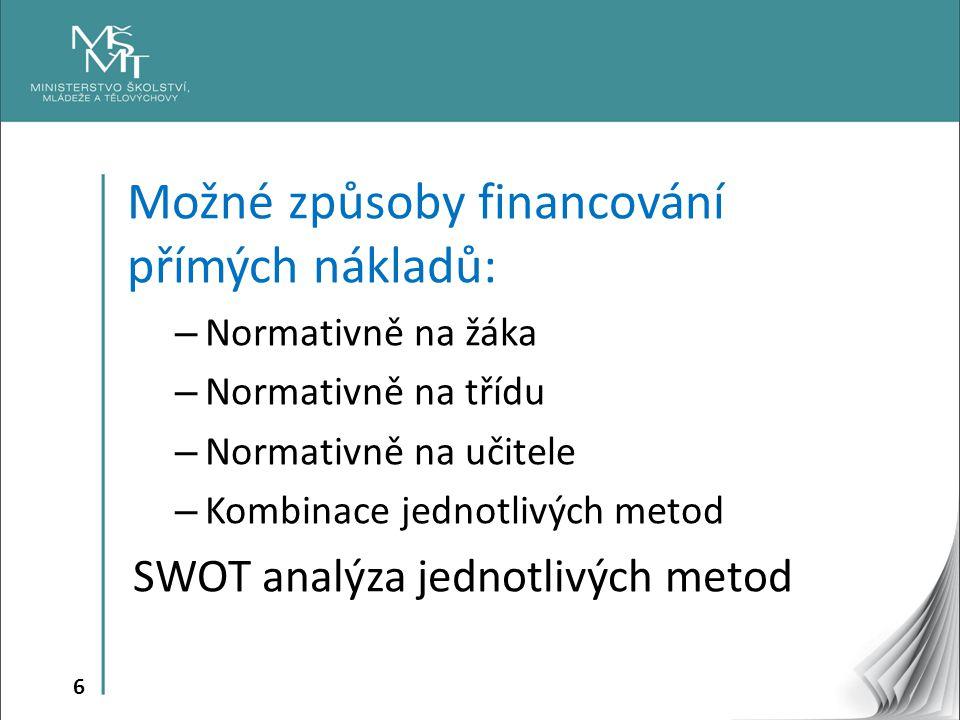 Možné způsoby financování přímých nákladů: