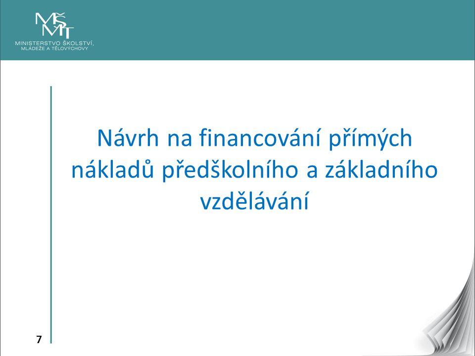 Návrh na financování přímých nákladů předškolního a základního vzdělávání