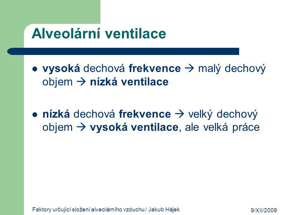 Faktory určující složení alveolárního vzduchu / Jakub Hájek