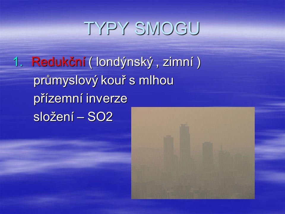 TYPY SMOGU Redukční ( londýnský , zimní ) průmyslový kouř s mlhou