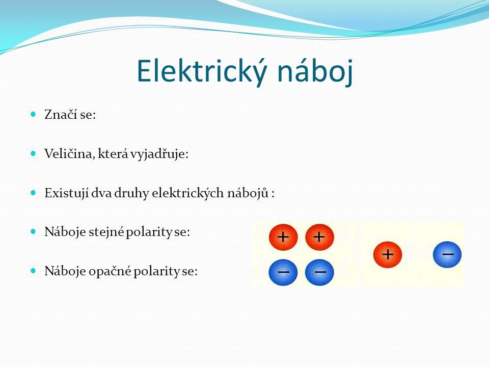 Elektrický náboj Značí se: Veličina, která vyjadřuje: