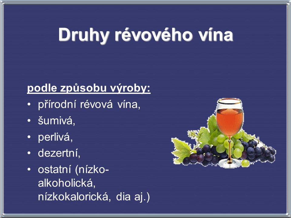 Druhy révového vína podle způsobu výroby: přírodní révová vína,