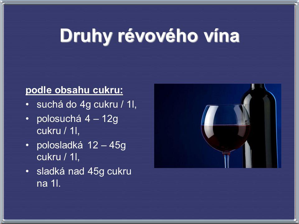 Druhy révového vína podle obsahu cukru: suchá do 4g cukru / 1l,
