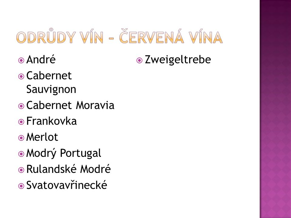 André Cabernet Sauvignon. Cabernet Moravia. Frankovka. Merlot. Modrý Portugal. Rulandské Modré.