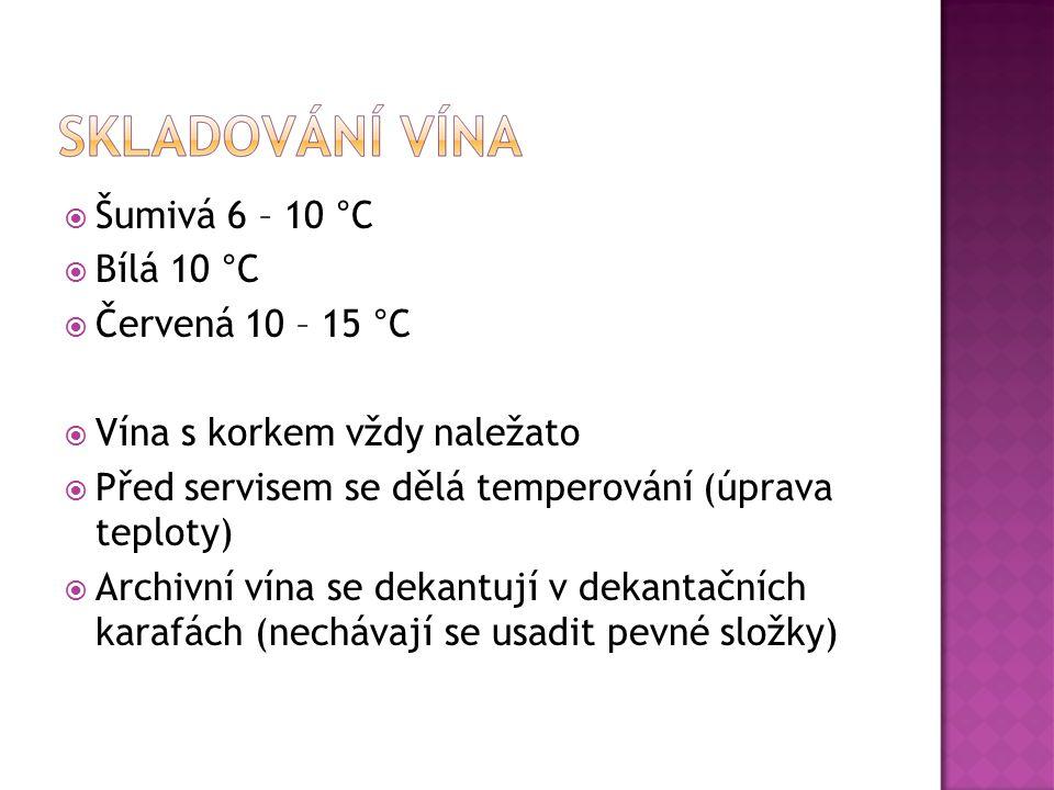 Šumivá 6 – 10 °C Bílá 10 °C. Červená 10 – 15 °C. Vína s korkem vždy naležato. Před servisem se dělá temperování (úprava teploty)