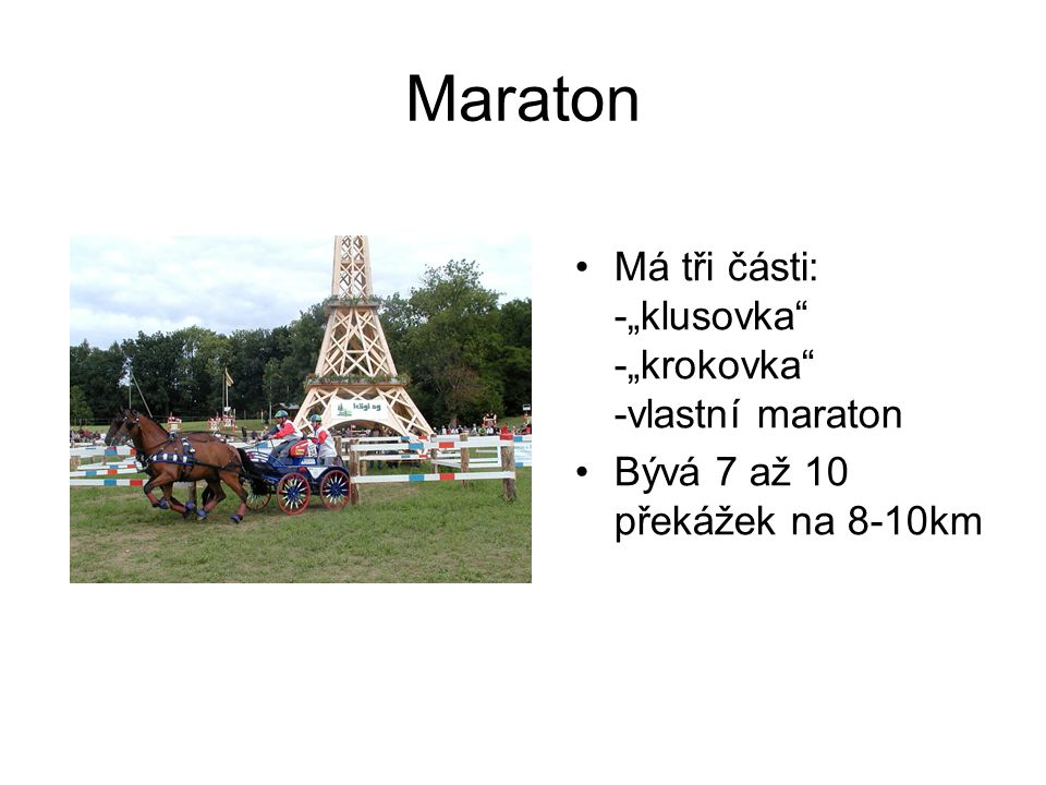 "Maraton Má tři části: -""klusovka -""krokovka -vlastní maraton"