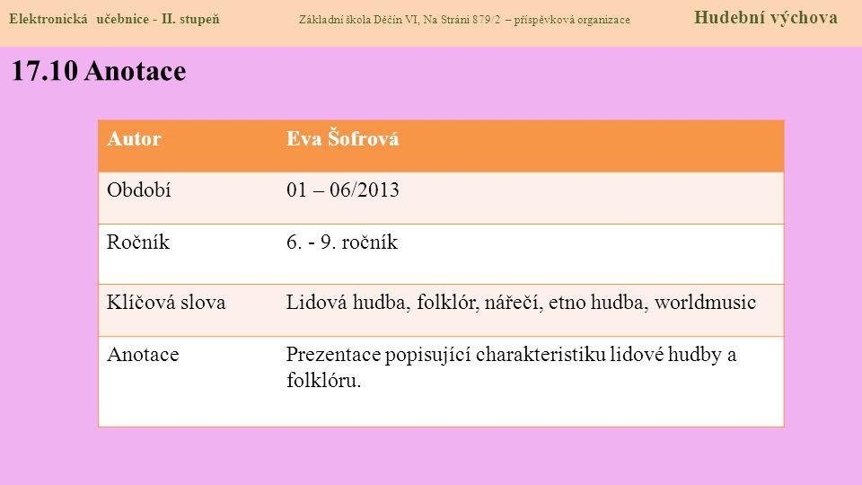 17.10 Anotace Autor Eva Šofrová Období 01 – 06/2013 Ročník