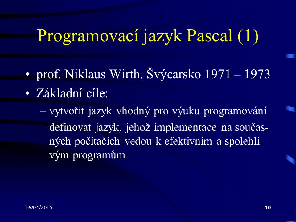 Programovací jazyk Pascal (1)