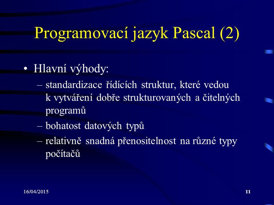 Programovací jazyk Pascal (2)