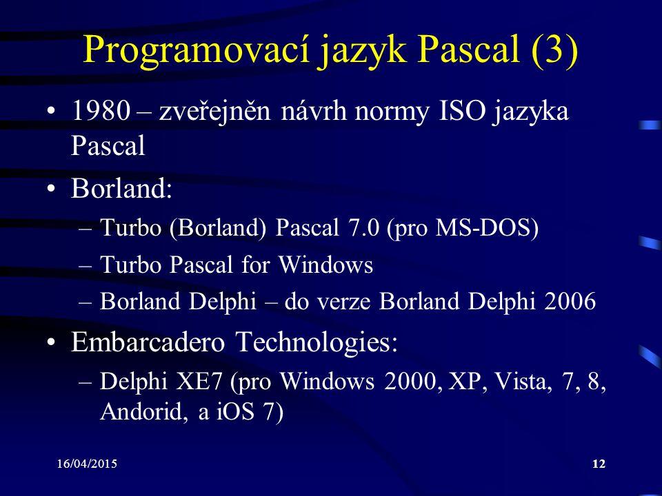 Programovací jazyk Pascal (3)