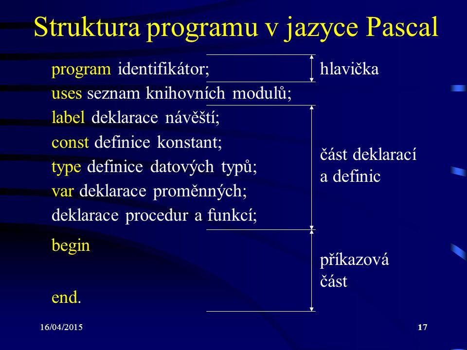 Struktura programu v jazyce Pascal