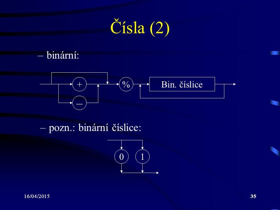 Čísla (2) – binární: pozn.: binární číslice: + % Bin. číslice 1