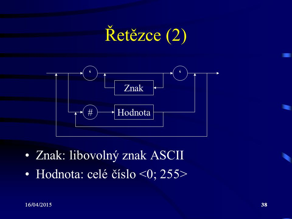 Řetězce (2) Znak: libovolný znak ASCII