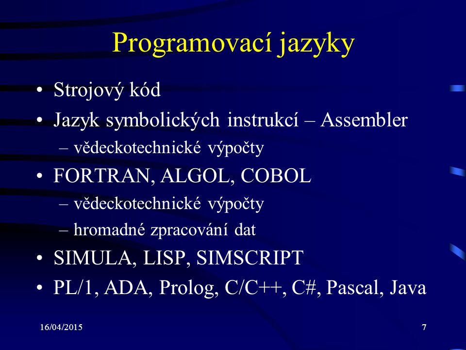 Programovací jazyky Strojový kód
