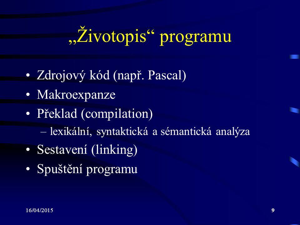 """""""Životopis programu Zdrojový kód (např. Pascal) Makroexpanze"""