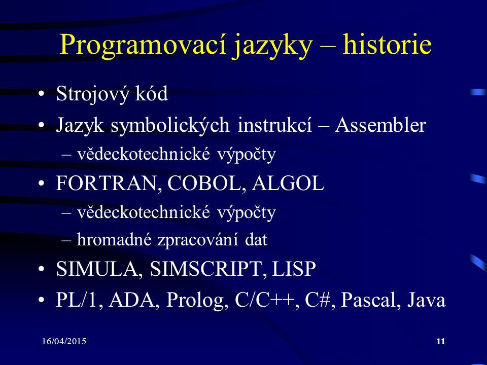 Programovací jazyky – historie