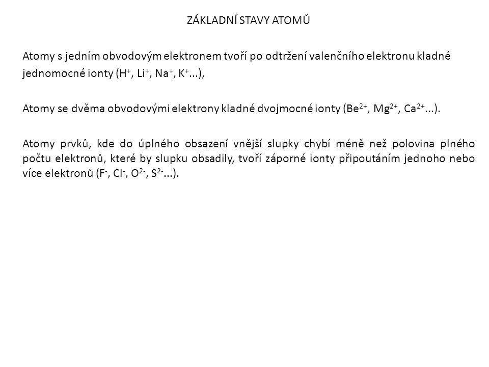 ZÁKLADNÍ STAVY ATOMŮ Atomy s jedním obvodovým elektronem tvoří po odtržení valenčního elektronu kladné jednomocné ionty (H+, Li+, Na+, K+...), Atomy se dvěma obvodovými elektrony kladné dvojmocné ionty (Be2+, Mg2+, Ca2+...). Atomy prvků, kde do úplného obsazení vnější slupky chybí méně než polovina plného počtu elektronů, které by slupku obsadily, tvoří záporné ionty připoutáním jednoho nebo více elektronů (F-, Cl-, O2-, S2-...).