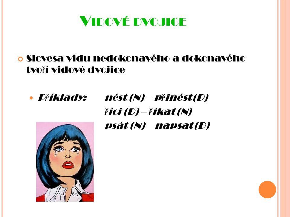 Vidové dvojice Slovesa vidu nedokonavého a dokonavého tvoří vidové dvojice. Příklady: nést (N) – přinést (D)