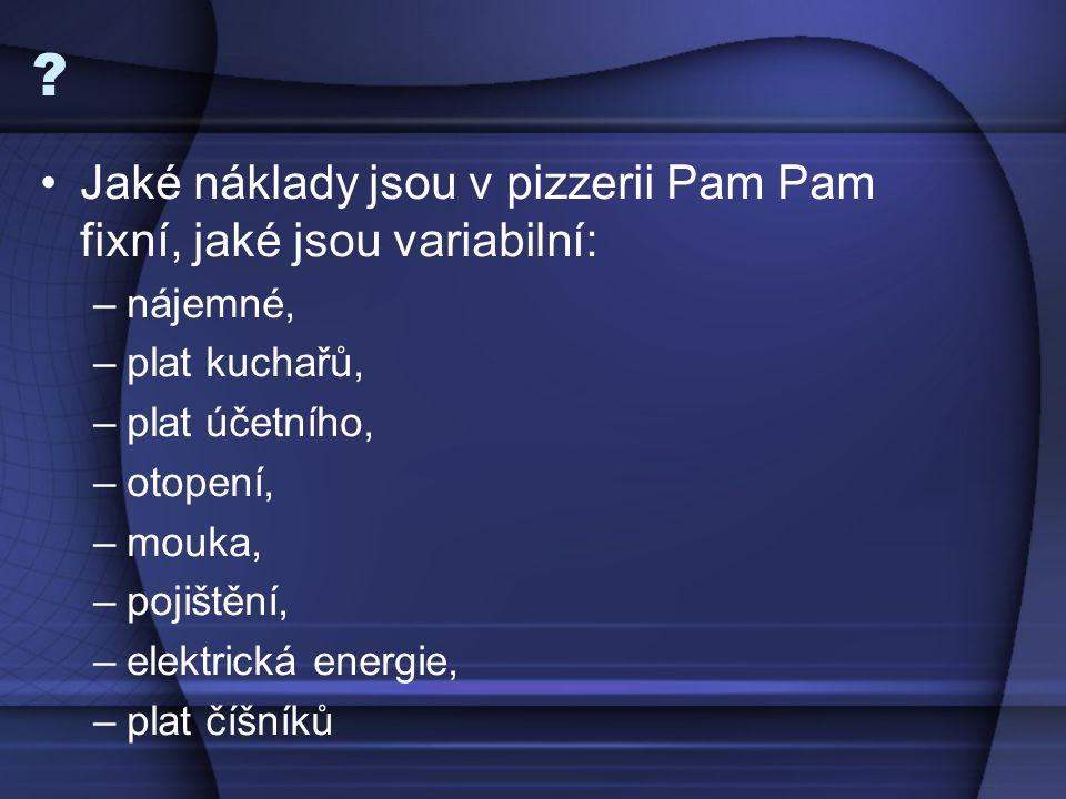 Jaké náklady jsou v pizzerii Pam Pam fixní, jaké jsou variabilní: