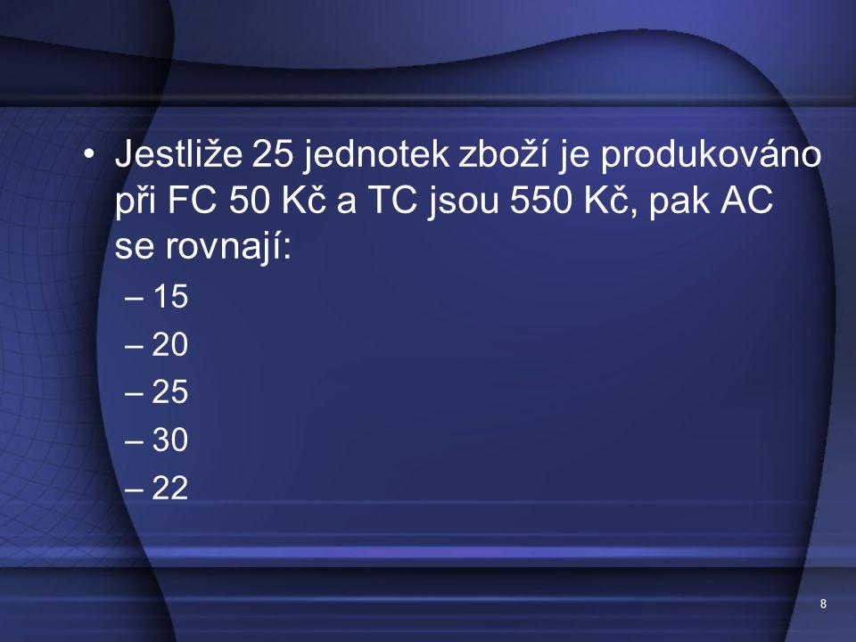 Jestliže 25 jednotek zboží je produkováno při FC 50 Kč a TC jsou 550 Kč, pak AC se rovnají:
