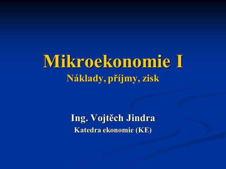 Mikroekonomie I Náklady, příjmy, zisk
