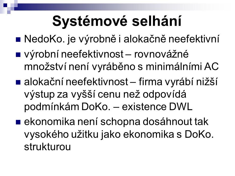 Systémové selhání NedoKo. je výrobně i alokačně neefektivní