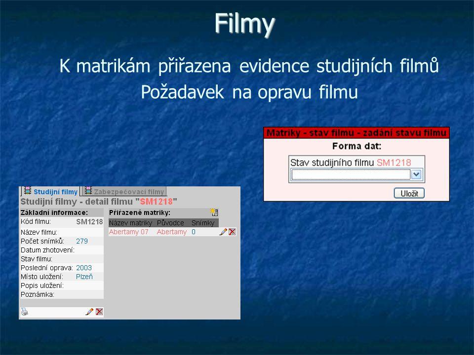 Filmy K matrikám přiřazena evidence studijních filmů