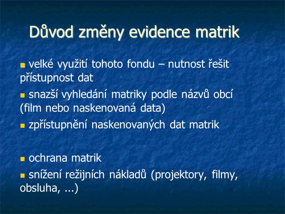 Důvod změny evidence matrik