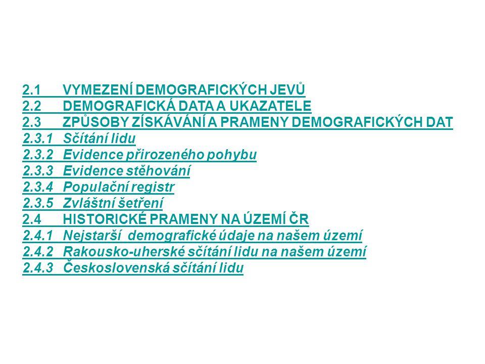 2.1 VYMEZENÍ DEMOGRAFICKÝCH JEVŮ