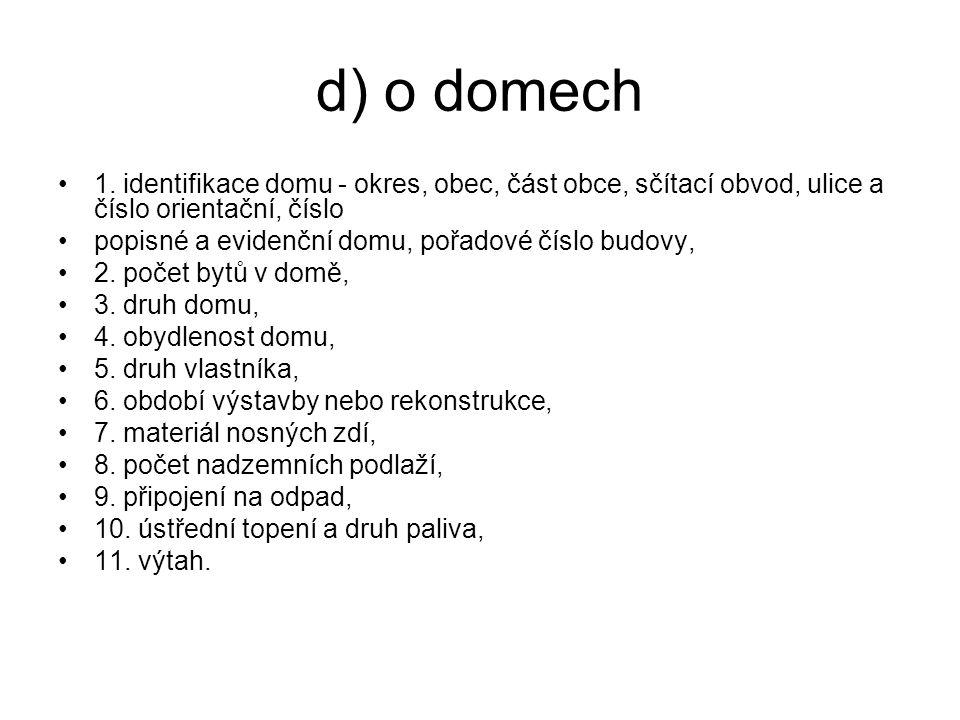 d) o domech 1. identifikace domu - okres, obec, část obce, sčítací obvod, ulice a číslo orientační, číslo.